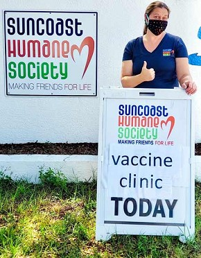 Suncoast Humane Society's Preventative Health Care Clinic is now doing its appointments curbside. Pet owners will remain in their vehicles the entire time while SHS staff take your animal inside the clinic for treatment. Services available through the clinic are vaccines, microchips, fecals, FELV/FIV tests, nail trims, deworming and heartworm/flea products. Services are appointment only by calling 474•7884, ext. 423 or emailing phutchinson@humane.org. Director of Medical Services/Veterinarian Dr. Kerstin Martin del Campo is ready for the Preventative Health Care Clinic.